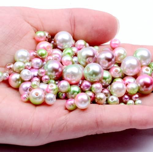 Opción múltiple 3/4/5/6/8 / 10mm Redondo Imitación Arco Iris Color Plástico Agujero recto Perlas Perlas DIY para accesorios de fabricación de joyas-R8,6mm 200pcs