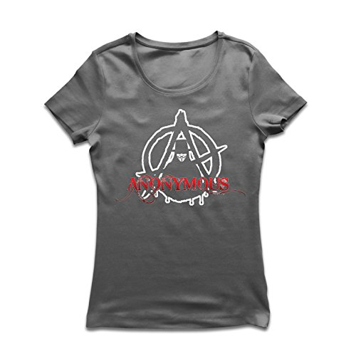 lepni.me Camiseta Mujer The Anonymous Hacktivist Mask - Anarchic, Cerebro Global digitalizado (Small Grafito Multicolor)