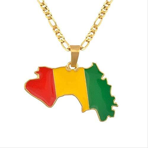WYDSFWL Collar Mapa de Color Dorado de la Bandera de Guinea Collares Pendientes para Mujeres Hombres Mapas de Guinea Collares Collar de joyería de Guinea Collar