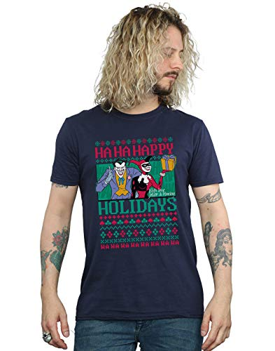 DC Comics Hombre Joker and Harley Quinn Ha Ha Happy Holidays Camiseta Azul Marino X-Large