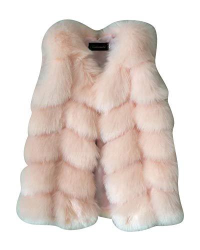 Kleinkind Baby Weste Faux Fur Jacke Mädchen Kunstpelz Mantel Pink 130