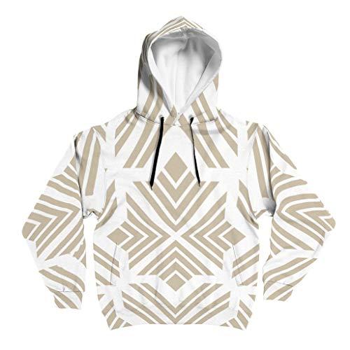 Lind88 Texture Graphic - Sudadera con capucha para hombre, diseño retro, con bolsillo y chaqueta ajustada, color blanco