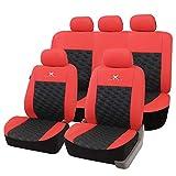 eSituro SCSC0168 Auto Schonbezug, Sitzbezüge für Auto, Dicke gepolstert, universal, schwarz-rot