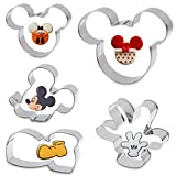 Cookie Cutter for Kids - Sandwich Cartoon of Mickey Mouse Cookie Cutter Shaped Biscuit Mould for DIY Cake Craft Bakeware Decoration Stainless Steel Cutter Set 5 pcs