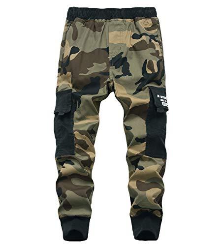 YoungSoul Cargohose Jungen Camouflage Jogginghose Kinder Tarnhose mit Gummizug, Gelb, 152-164 / Größe 160cm