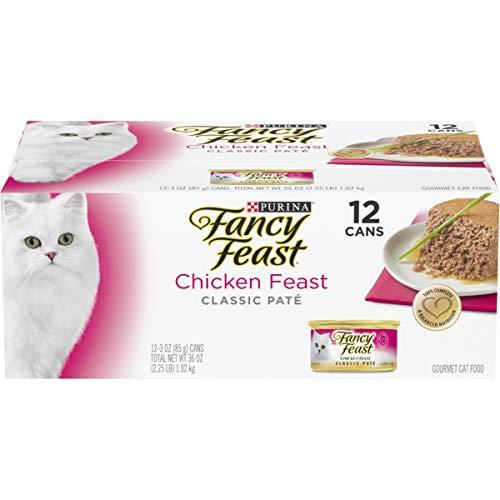 Purina Fancy Feast Grain Free Pate Wet Cat Food, Chicken Feast - (2 Packs of 12) 3 oz. Cans