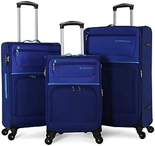 Giordano Luggage Soft Case Trolley Set With 4 Wheel, 3 Pcs, Blue - 1619570, Unisex