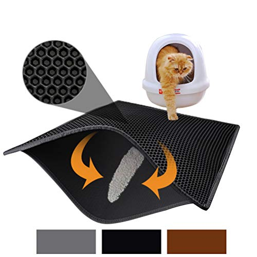 """Price comparison product image Pieviev Cat Litter Mat Litter Trapping Mat,  30"""" X 24"""" Inch Honeycomb Double Layer Design Waterproof Urine Proof Trapper Mat for Litter Boxes,  Large Size Easy Clean Scatter Control (Black)"""