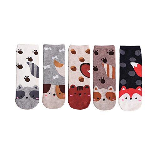 LHZY femmes filles chaussettes 4-5 Pack, amusant mignon chats Cartoon Sweet Animal Design coton...