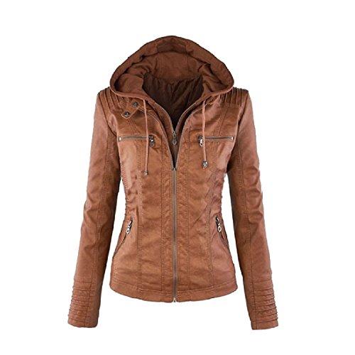 Fseason Women Hoode Pocket Plus Size Fall Winter Leather Coat Jacket Brown 5XL