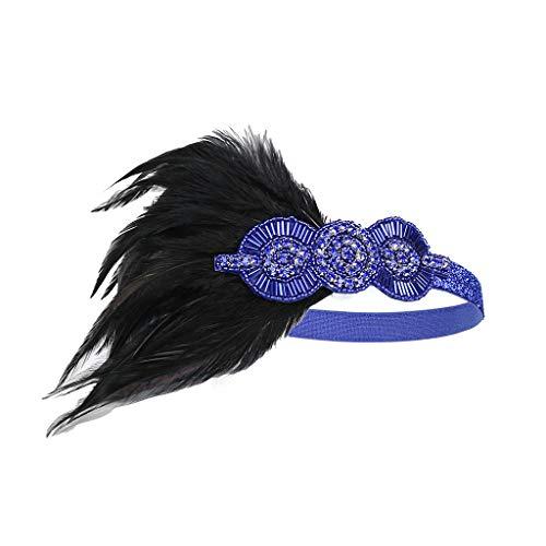 Beonzale Kopfschmuck Flapper Feather Floral Feder Stirnband der 1920er Jahre Zubehör Kristall Perlen Hochzeit Kopfschmuck Blumengirlande Mädchen Stirnband Stirnband für Frauen