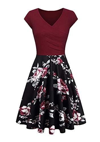 YMING Frauen Elegant Partykleid Blumen Sommerkleid V-Ausschnitt Kleid Blumen/Weinrot XXL