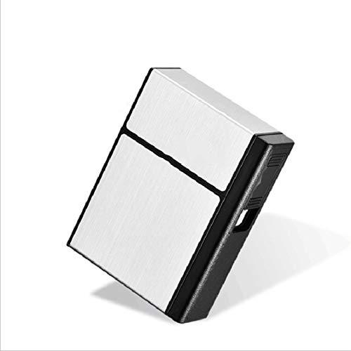 JYDT Estuche para cigarrillos, 20 cajas de cigarrillos, funda de cigarrillos USB desmontable y encendedor de doble propósito (color: plata)