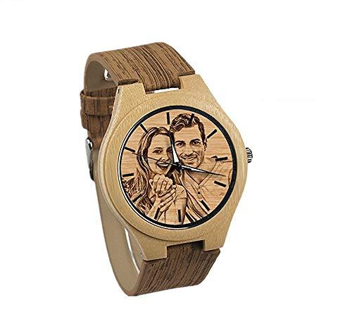 Vatertagsgeschenk-Personalisierte Foto Armbanduhr Selbst Gestalten Hölzern Foto-Uhr für Männer Damen-Gewohnheit mit vorderem Foto und hinterer Gravur