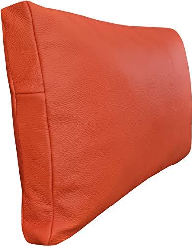 Orangefarbene Lederkissen Orange Echtleder Kissen Sofa & Stuhl Dekokissen Zierkissen Echtleder Rückenkissen Rindsleder Echt Leder Toledo Orange Modell P&Z 1EL (40 x 60 cm)