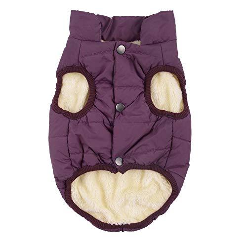 KSITH kleding voor honden voor huisdieren, dikke kleding van katoen, mantel voor huisdieren, honden, warm vest voor kleine honden, L, Paars