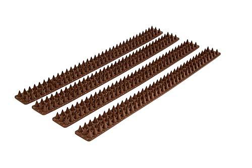 Relaxdays Vogelabwehr 4 Paneele je 49 cm mit Spikes Gesamtlänge 2 m mit jeweils H x B x T 1,7 x 4,2 x 49 cm für, dunkelbraun