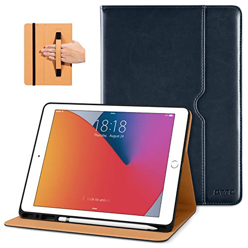 DTTO New iPad 7th/8th Generation Case 10.2 Inch 2019/2020, Premium Leather Business Folio Stand Cover with Built-in Apple Pencil Holder - Auto Wake/Sleep and Multiple Viewing Angles - Blue