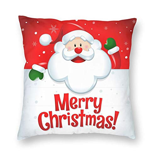Merry Christmas 18x18 inches Pillow Covers Santa Claus Pillowcase Red Background Festival Home Decoration Throw Pillowcovers Soft and Skin-Friendly Couch Bed