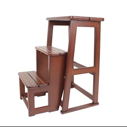 Stool Ladder- Tabouret escabeau en bois massif haut de gamme à trois niveaux de tabouret décrochement multifonctionnel (Couleur : Brown)