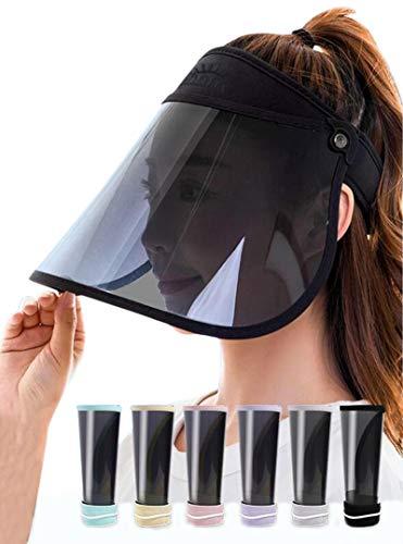 Mukeyo 【最新 サンバイザー uvカット帽子 レインハット レインバイザー つば広 自転車ひよけ帽子 紫外線対策 晴雨兼用 日除け帽子 日焼け対策 UPF50+ キャップ 自転車 バイザー ワイド 曲げ収納 レディース ブラック