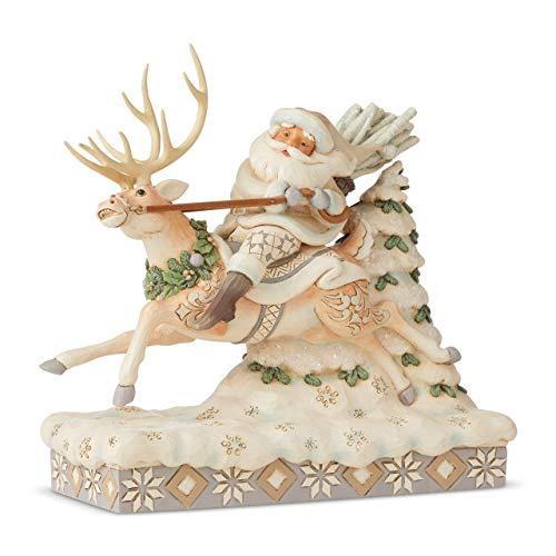 Enesco Jim Shore Heartwood Creek Woodland Santa Riding Reindeer Figurine