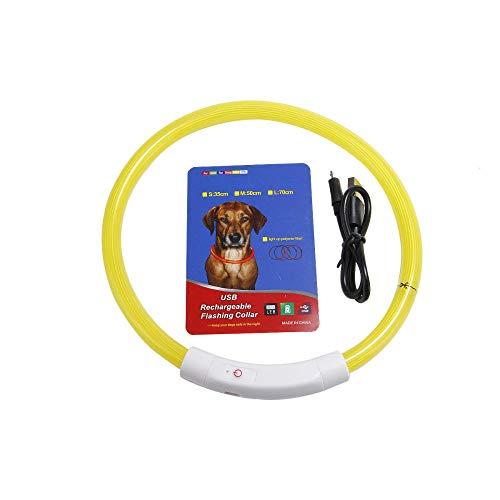 MMWW LED-huisdier Lichtgevende ketting USB-oplaadketting Teddy nachtlampje ketting voor kleine en middelgrote honden Honden en katten-yellow_fiber_optic_35cm