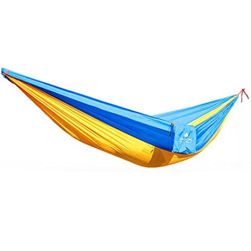 Multifonction Camping Hamac à suspendre Lit Double Taille [2.6 * * * * * * * * 1.3 m] Jaune/Bleu