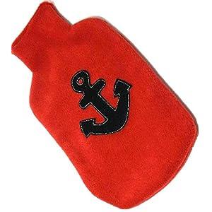 Wärmflaschenhülle Fleece mit – BLAUER ANKER – Wärmflaschenbezug für 2 Liter Wärmflasche – Bettflaschenhülle/Bett…