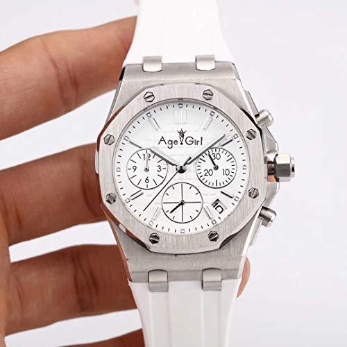 PLKNVT Luxury Women Cronografo Cronometro Sapphire Acciaio Inossidabile Orologi Luminosi Nero Bianco Gomma Argento Impermeabile 50MBianco