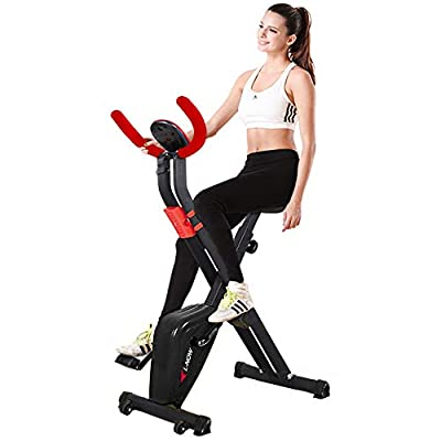 pooboo Foldable Exercise Bike Indoor Cycling Bike Folding Stationary Bike with LCD Display and Phone Holde