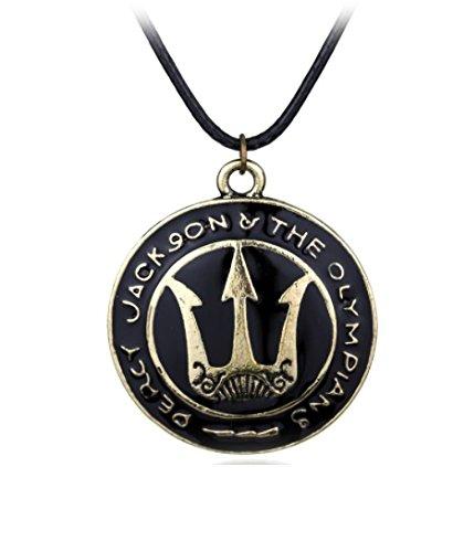 Percy Jackson Colgante de escudo Trident Shield – Camp mitad sangre mar de monstruos Poseidon collar * con bolsa de regalo *