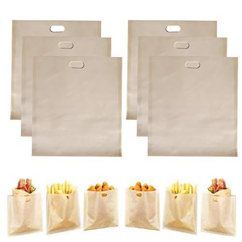 HSIULMY Paquete de 6 bolsas para tostadora, para sándwiches de queso a la parrilla, pollo, pizza, pasteles, panini
