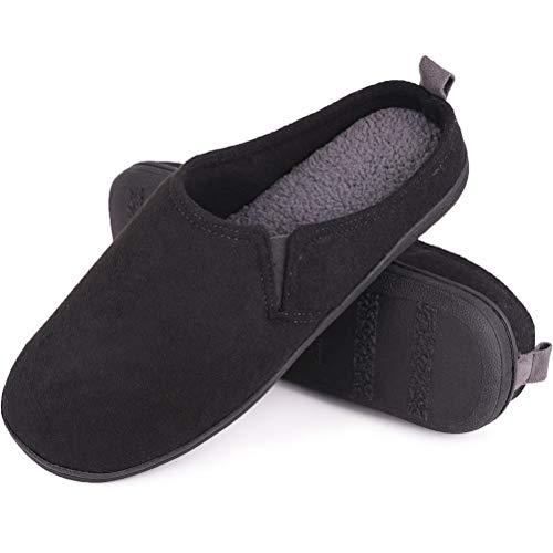 GUALA Pantuflas cálidas para Hombres Pantuflas de algodón de Fieltro de algodón con Memoria de Terciopelo Zapatillas de algodón cómodas Antideslizantes para el hogar,Negro,44/45