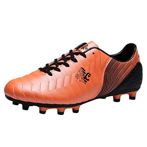 Couple Chaussures de Course Running Sport Football en Plein Air Soccer Antidérapantes D'extérieur pour Enfants Entraînement Low-Top Sneakers (41 EU, Orange)