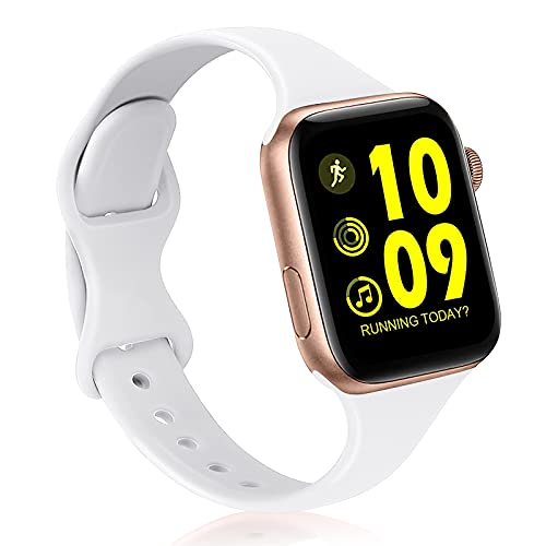 AIRPROEC Sport Bands Compatible with Apple Watch Band 38mm 40mm 42mm 44mm Slim Thin Skinny Narrow Silicone Replacement Strap Wristband for iWatch Series 6/5/4/3/2/1/SE Women Men (White, 42mm/44mm)