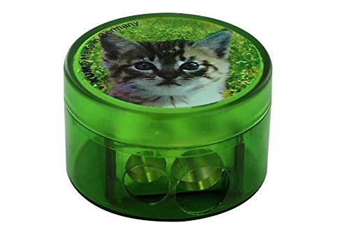 KUM AZ341.03.19-K - Doppel-Behälterspitzer, 208M2, aus Magnesium, Motiv Katze, 1 Stück