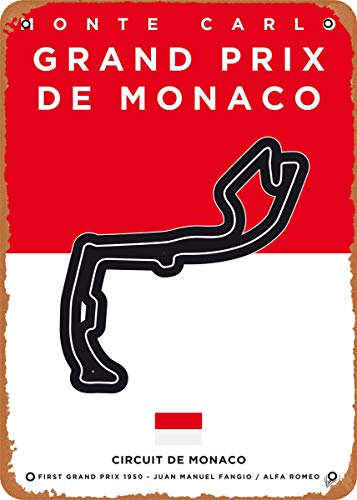 Wanfst Vintage Look Metal Sign - My F1 Racetrack Posters My F1 Monaco Race Track - 8 x 12 Tin Sign