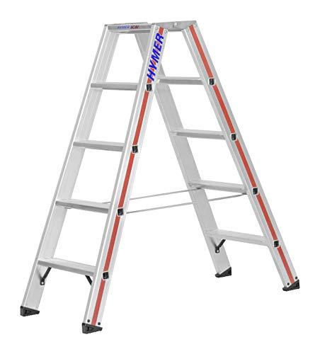 Hymer Stufenstehleiter 2x5 Stufen (beidseitig begehbar, verstärkte Stufen, Spreizsicherung) 802410