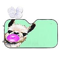 VINISATH 車用 遮熱 サンシェード クリスマスの小さなかわいい面白いヨークシャー テリアの子犬犬 車遮光カーテン 車中泊 日よけ 日除け 折り畳み 日焼け防止 フロントガラス用 フロントカバー カーサンシェード 紫外線対策