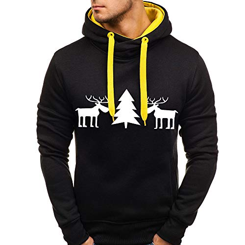 KPILP Herren Langarm Weihnachten Sweatshirts Kapuzenpullover Winter Herbst Warm Pullover Sweatjacke Jumper Rentiermuster Hoodie Kapuzenjacke