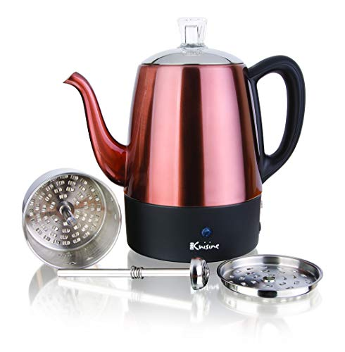 Euro Cuisine PER04 Electric Percolator 4 Cup Stainless Steel Coffee Pot Maker (4 Cup) - Copper Finish