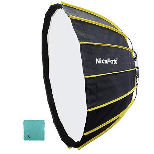 NiceFoto 60cm Tragbare, schnelle Installation Sechseckige Softbox mit weichem Diffusorstoff und Gitterstreifen-Regenschirm Design Silberreflektor-Softbox für Blitzlichtzubehör von Speedlite Studio