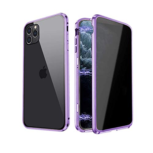 Privacy Magnetic Case Fits for iPhone 11, Double-Sided Tempered Glass Magnetic Adsorption Metal Bumper Privacy Screen Protector Clear Back Antipeep Anti-Spy Phone Cases Cover for iPhone 11, Purple