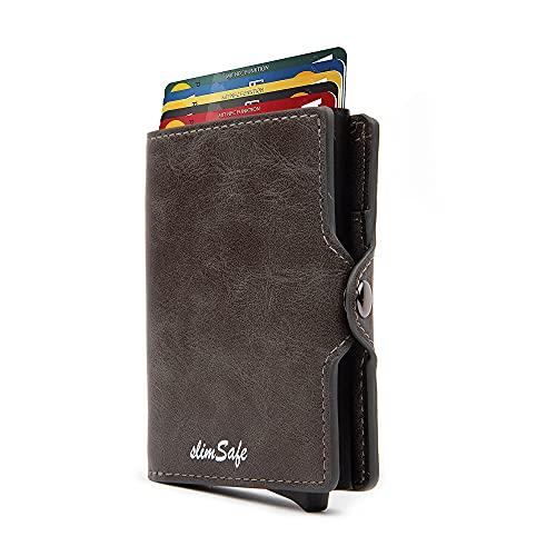 slimSafe Kartenetui | Kreditkartenetui mit Münzfach | Mini Geldbörse Herren | Kreditkarten Etuis mit Geldscheinfach | Slim-Wallet mit RFID-Blocker | Grau