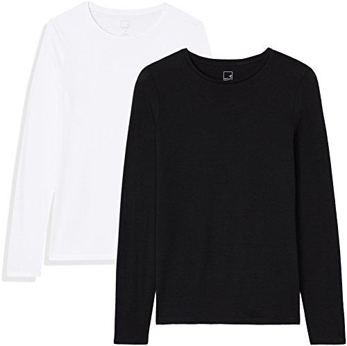 Marca Amazon - MERAKI Camisetas, Mujer, Negro (Black Beauty/White), XS, Pack de 2