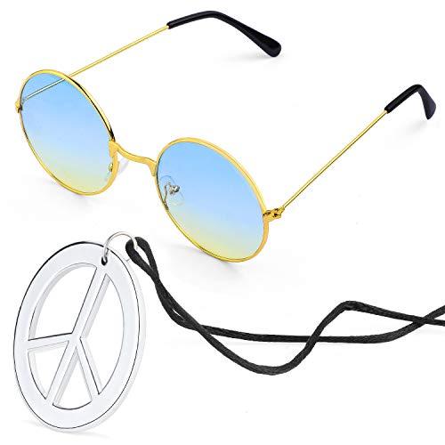 Beelittle Hippie Kostümzubehör für Herren und Damen - Retro John Lennon Hippie 60er Jahre Kreis Brille Friedenszeichen Halskette (Blau Gelb)