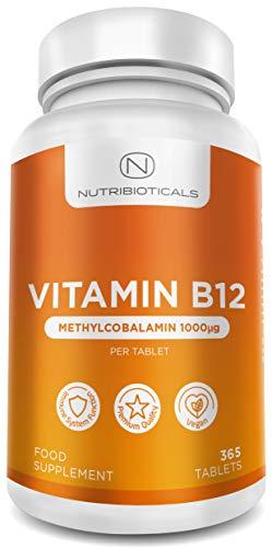 Vitamina B12 metilcobalamina 1000 mcg 365 compresse (12 mesi) | Riduce della stanchezza e dell'affaticamento & aiuta il normale funzionamento del sistema immunitario