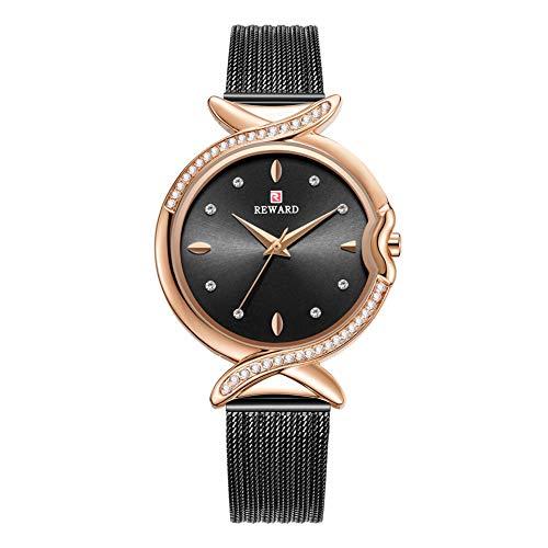 Dilwe - Reloj de pulsera para mujer con correa de malla de acero ajustable, resistente al agua, con diamantes de imitación, Rose Black