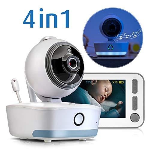 reer - Video-Babyphone mit Tag- und Nachtmodus, Wiegenlieder, Nachtlicht, bewegliche Kamera